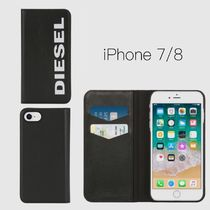 "【DIESEL】☆ロゴ入り ""SLIM LEATHER FOLIO"" iPhone7/8ケース/黒"