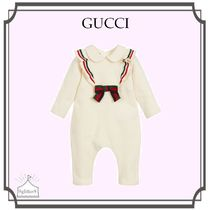 GUCCI☆Girls Ivory Cotton フリルベビーグロー