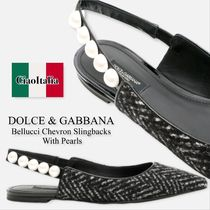 Dolce gabbana bellucci chevron slingbacks with pearls
