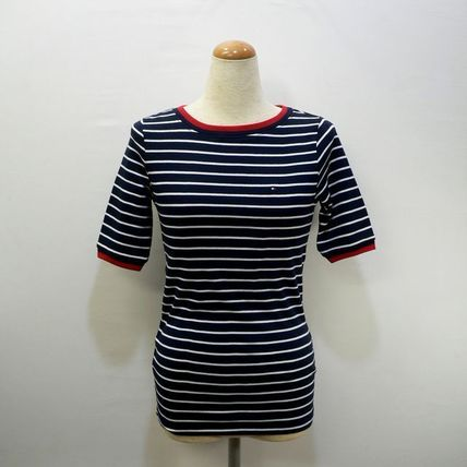 Tommy Hilfiger Tシャツ・カットソー TOMMY HILFIGER トミヒル リンガー ボーダー Tシャツ 紺 (9419)