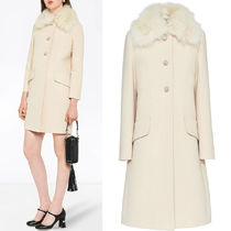 MM980 FUR COLLAR WOOL COAT WITH JEWELED BUTTON