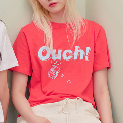 BLANK Tシャツ・カットソー ★BLANK★日本未入荷 韓国 ロゴ 半袖 Tシャツ OUCH T-RD【3色】(10)