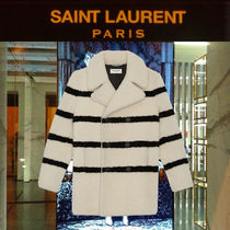 【19AW】Saint Laurent_men / STRIPED SHEARLING ダブルPコート