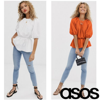 ASOS Tシャツ・カットソー ASOS DESIGN☆short sleeve waisted top textured fabric☆S