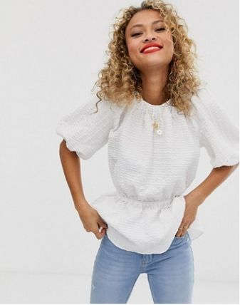 ASOS Tシャツ・カットソー ASOS DESIGN☆short sleeve waisted top textured fabric☆S(5)