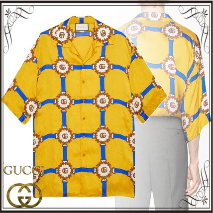 3c7245551f33 GUCCI Tシャツ・カットソー 関税込◇Bowling shirt with GG harness print ...