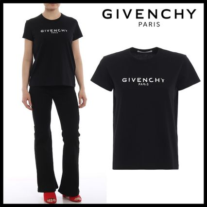 GIVENCHY Tシャツ・カットソー ★関税込/追跡発送 GIVENCHY★ロゴ Tシャツ★BLACK★