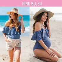 【PINK BLUSH】Ruffle Trim Ruched OnePiece Maternity Swimsuit