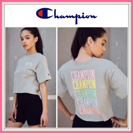 CHAMPION Tシャツ・カットソー NEW!! 19SS!!☆Champion☆ Rainbow Embroidered Cropped T-Shirt