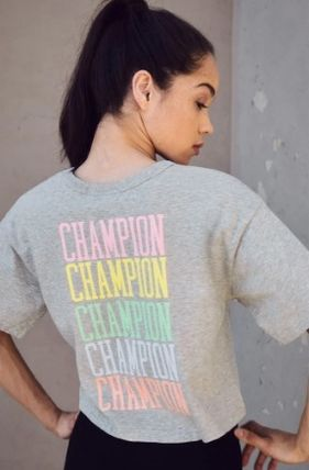 CHAMPION Tシャツ・カットソー NEW!! 19SS!!☆Champion☆ Rainbow Embroidered Cropped T-Shirt(2)