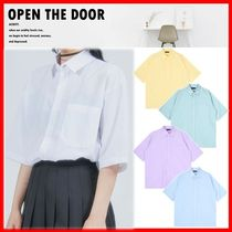 ☆韓国の人気☆【OPEN THE DOOR】☆Oxford 1/2 Shirts☆5色☆