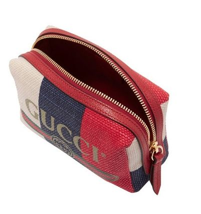 new style 14928 1dba7 GUCCI 【新作】革縞模様のキャンバス化粧品ケース