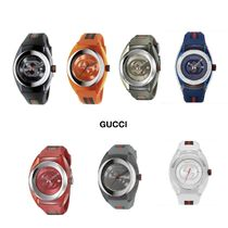 Gucci グッチ Swiss Sync Striped Rubber Strap Watch