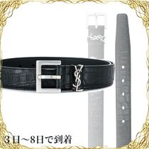 関税込◆YSL Monogram Saint Laurent belt in matte crocodile