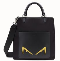 FENDI SHOPPER IN BLACK LEATHER IN NYLON