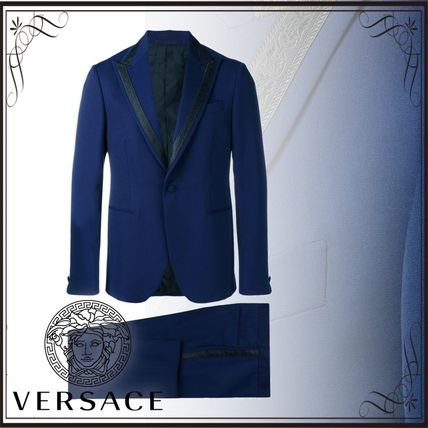 VERSACE スーツ 関税込◆single breasted jacquard detailed suit