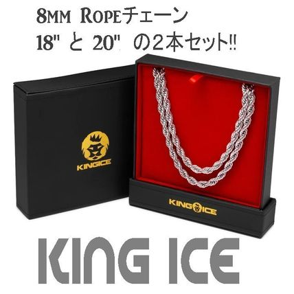 King Ice ネックレス・チョーカー LA発ストリート☆King Ice☆Ropeチェーン 8mm 2本セット