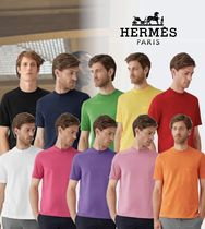 hermes H embroidered T-shirt★10Color