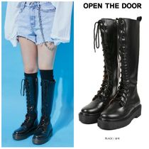 OPEN THE DOOR(オープンザドア) ロングブーツ 無料EMS配送★OPENTHEDOOR★platform leather long walker boots