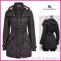 BURBERRY★素敵!FINSBRIDGE BELTED QUILTED CHECK COAT