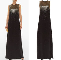G538 SEQUINED SILK GEORGETTE EVENING DRESS
