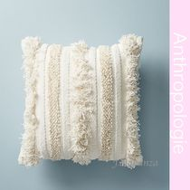 【Anthropologie】正方形Whiteフリンジクッション_送関込_国内発