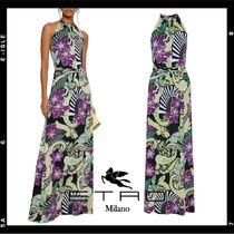 【ETRO】 Ruched printed jersey maxi dress