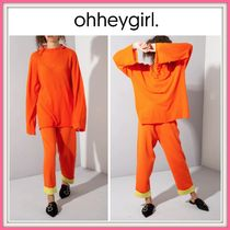 19SS!! ☆Oh Hey Girl☆ Orange Long Sleeve and Trouser Set*