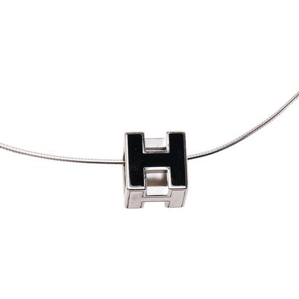HERMES Cage d'H Black Laquered Pendant Necklace Hキューブネックレス