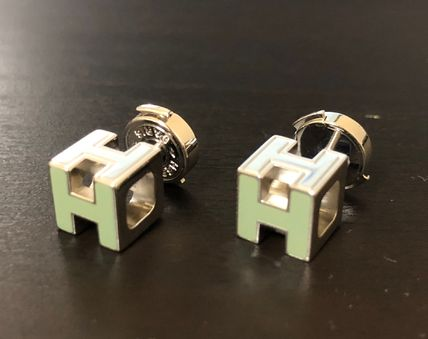 HERMES Cage d'H GREEN/SS Laquered Hキューブピアス