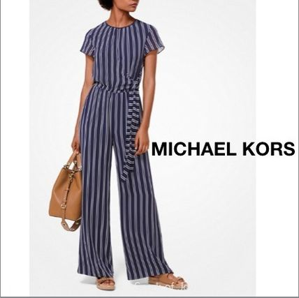 Michael Kors★Striped Georgette★爽やか Navy ジャンプスーツ