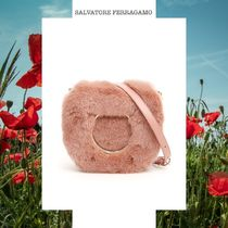 SALVATORE FERRAGAMO BAG WITH MINK FUR AND MAXI GANCIO ピンク