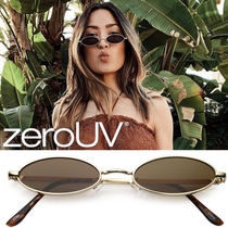 全4色*zeroUV*retro 1990s small oval metal flat lens sunglas