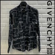 GIVENCHY ジバンシィ 19AW GIVENCHY プリント 長袖 シャツ*Black