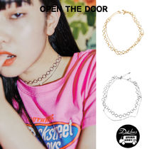 OPEN THE DOOR circle pearl set choker necklace NR589 追跡付