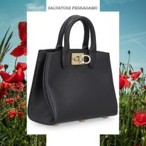 19SS SALVATORE FERRAGAMO THE STUDIO LEATHER HANDBAG ブラック