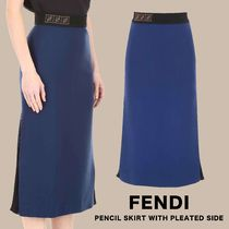 FENDI PENCIL SKIRT WITH PLEATED SIDE