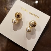 2019 NEW♪ Tory Burch★ CRYSTAL PEARL DOUBLE STUD EARRING