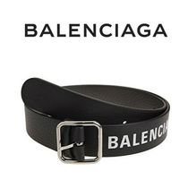 BALENCIAGA  BLACK EVERYDAY BELT WITH LOG   2019-20AW / h2