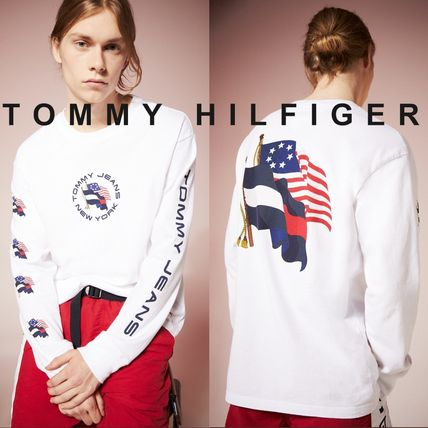 Tommy Hilfiger Tシャツ・カットソー TOMMY JEANS フラッグロングスリーブTシャツ 国内買付 すぐ届く