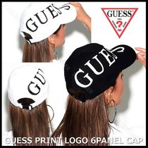 国内発送・正規品★GUESS★PRINT LOGO 6PANEL CAP★BLACK&WHITE