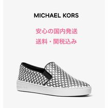 *国内発送* MK Keaton Checkerboard Logo Leather Slip-On