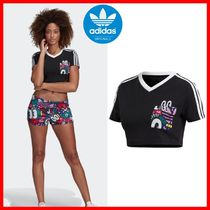 ☆韓国の人気☆【ADIDAS】☆3 STRIPES CROPPED TEE☆BLACK☆