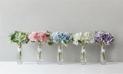 Blooming&me フェイクグリーン 【Blooming&me】柔らかな色合いのアジサイの花瓶セット(造花)(2)