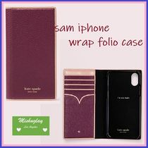 【kate spade】上品手帳型♪sam iphone X/XS/XS Max/XR★sangria
