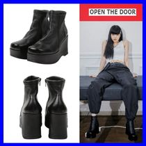 OPEN THE DOOR(オープンザドア) ミドルブーツ [OPEN THE DOOR]    cow hide platform boots /追跡付