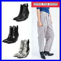 [OPEN THE DOOR]   leather western ankle boots (3 color)