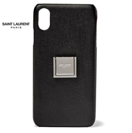 Saint Laurent スマホケース・テックアクセサリー New▼Saint Lauren▼Pebble-Grain Leather iPhoneXS Max ケース