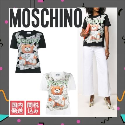 Moschino Tシャツ・カットソー 〔国内発送〕MOSCHINO テディダラー Tシャツ レディース 2色☆