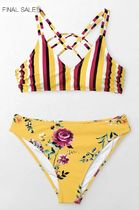 YELLOW STRIPE AND FLORAL BIKINI